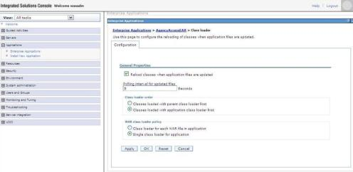 Class Loading Properties for a Web Application in the WebSphere 6.1 Integrated Solutions Console.